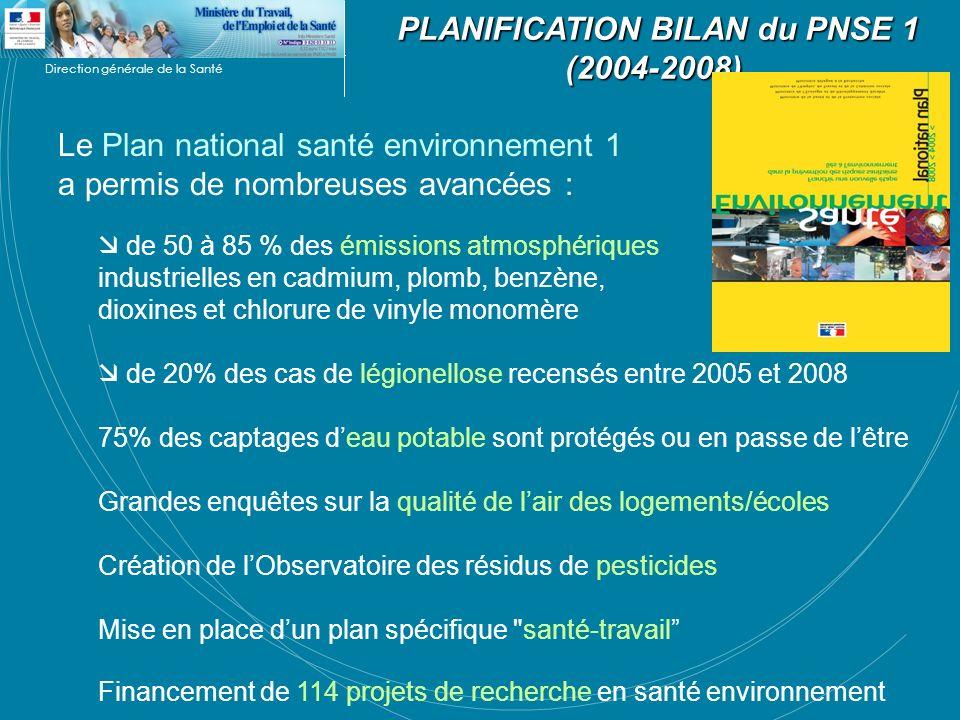 Direction générale de la Santé PLANIFICATION BILAN du PNSE 1 (2004-2008) PLANIFICATION BILAN du PNSE 1 (2004-2008) Le Plan national santé environnemen