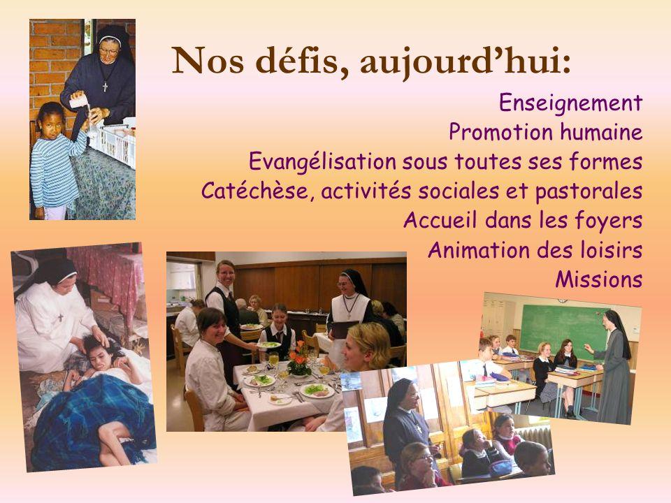 Nos défis, aujourdhui: Enseignement Promotion humaine Evangélisation sous toutes ses formes Catéchèse, activités sociales et pastorales Accueil dans l