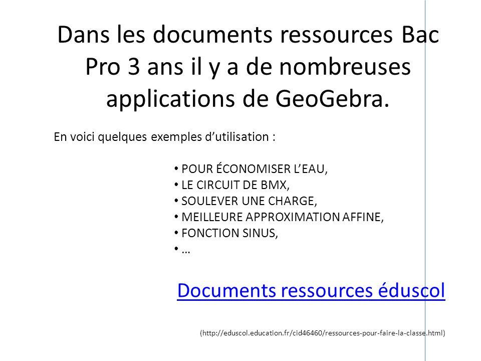 Documents ressources éduscol (http://eduscol.education.fr/cid46460/ressources-pour-faire-la-classe.html) Dans les documents ressources Bac Pro 3 ans i