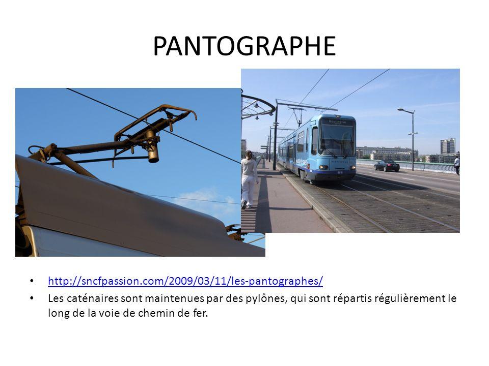 PANTOGRAPHE http://sncfpassion.com/2009/03/11/les-pantographes/ Les caténaires sont maintenues par des pylônes, qui sont répartis régulièrement le lon
