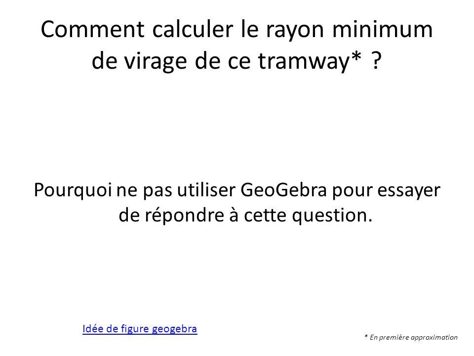 Comment calculer le rayon minimum de virage de ce tramway* ? Pourquoi ne pas utiliser GeoGebra pour essayer de répondre à cette question. * En premièr
