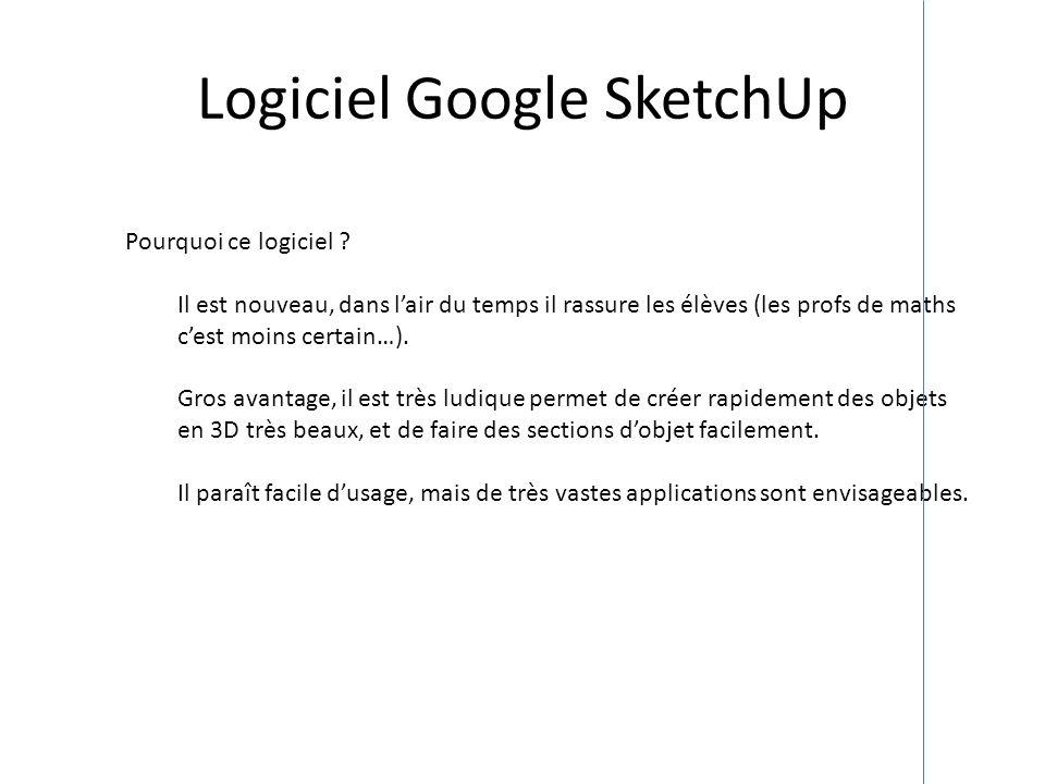 Logiciel Google SketchUp Pourquoi ce logiciel ? Il est nouveau, dans lair du temps il rassure les élèves (les profs de maths cest moins certain…). Gro
