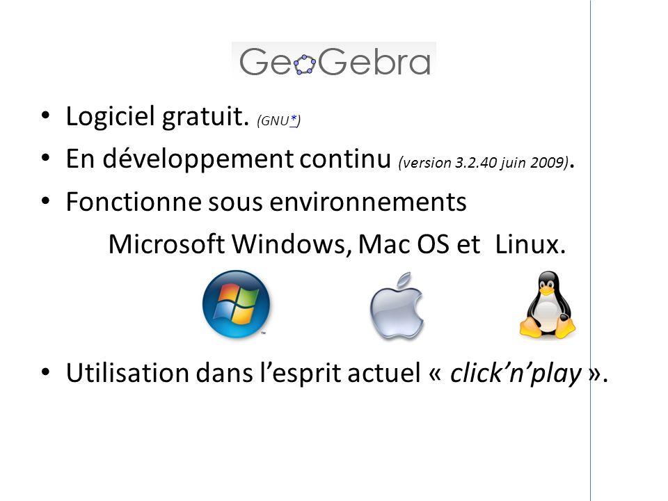 Logiciel gratuit. (GNU*)* En développement continu (version 3.2.40 juin 2009). Fonctionne sous environnements Microsoft Windows, Mac OS et Linux. Util