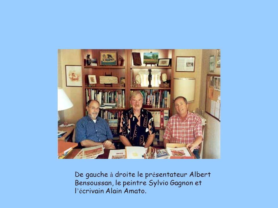Le peintre Sylvio Gagnon et l é crivain Alain Amato devant le tableau « La rentr é e » qui a inspir é la nouvelle portant le même titre.
