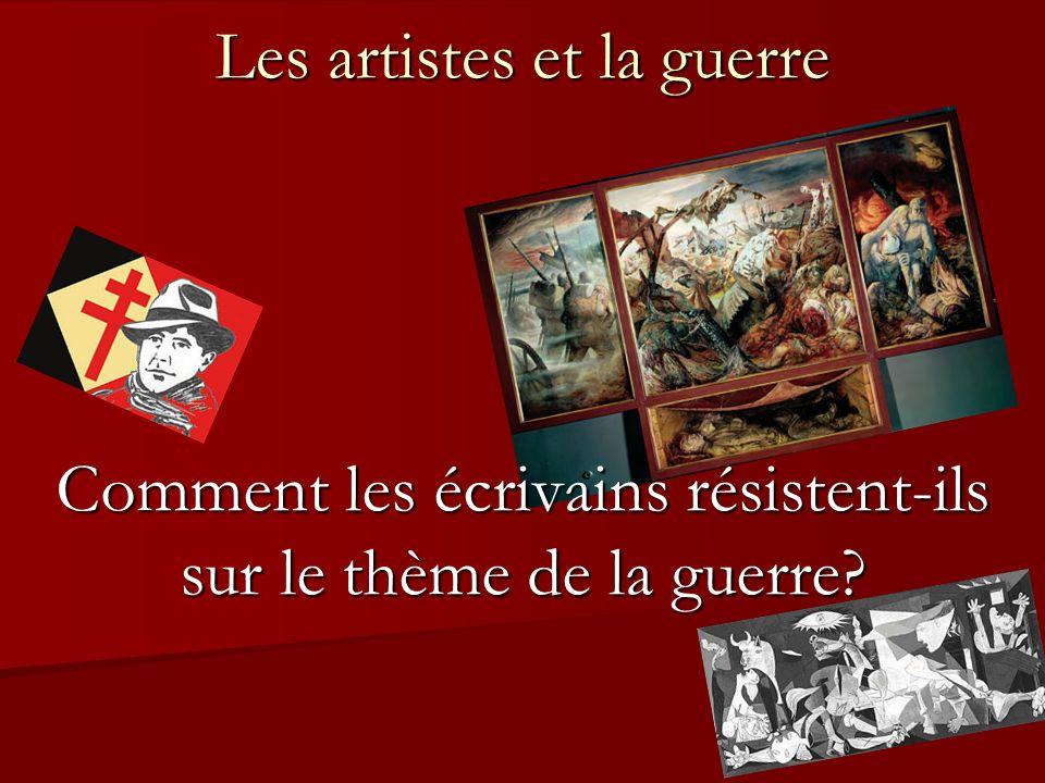 Sommaire Pourquoi les artistes sengagent-ils sur le thème de la guerre.