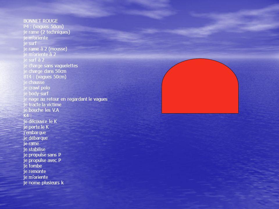 BONNET ROUGE P4 : (vagues 50cm) je rame (2 techniques) je moriente je surf je rame à 2 (mousse) je moriente à 2 je surf à 2 je charge sans vaguelettes