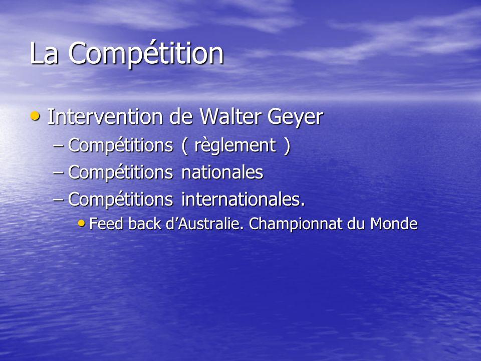 La Compétition Intervention de Walter Geyer Intervention de Walter Geyer –Compétitions ( règlement ) –Compétitions nationales –Compétitions internatio