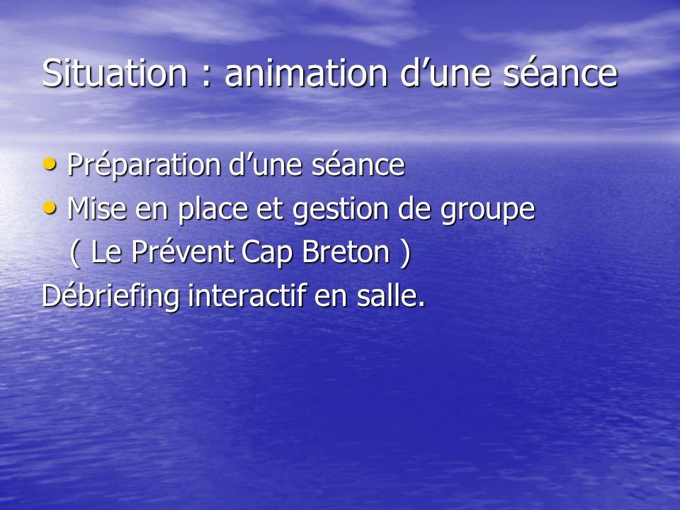 Situation : animation dune séance Préparation dune séance Préparation dune séance Mise en place et gestion de groupe Mise en place et gestion de group