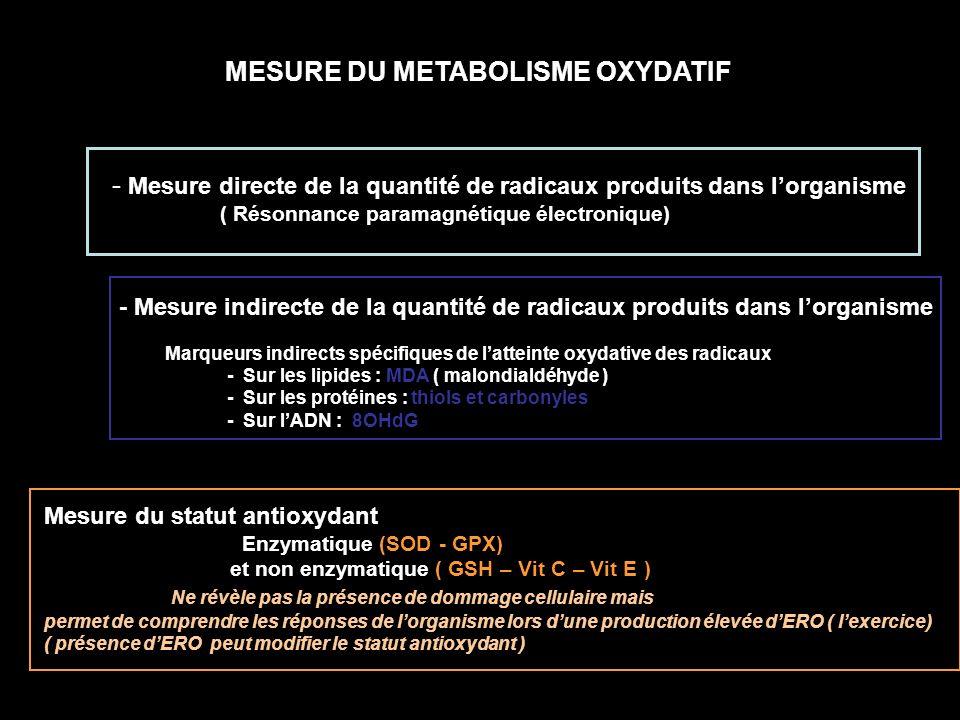 Marqueurs indirects spécifiques de latteinte oxydative des radicaux - Sur les lipides : MDA ( malondialdéhyde ) - Sur les protéines : thiols et carbon