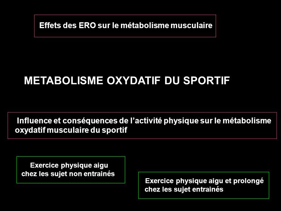 METABOLISME OXYDATIF DU SPORTIF Effets des ERO sur Influence et conséquences de lactivité physique sur le métabolisme oxydatif musculaire du sportif E