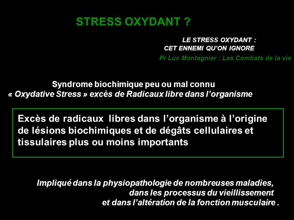 CONSEQUENCES BIOLOGIQUES DU STRESS OXYDANT Contraction musculaire Expression des Gènes rédox sensibles Régulation du cycle cellulaire Activités enzymatiques Tonus vasculaire Immunité Neurotransmission PERTURBATIONS METABOLIQUES LIBERATION DE METABOLITES CYTOTOXIQUES ET MUTAGENES MORT CELLULAIRE AUTOIMMUNITE CANCERISATION ATHEROGENESE lipides OXYDATION OXYDATION ADN protéines Dérèglement des systèmes biologiques dépendant du potentiel redox LESIONS DIRECTES EFFETS INDIRECTS