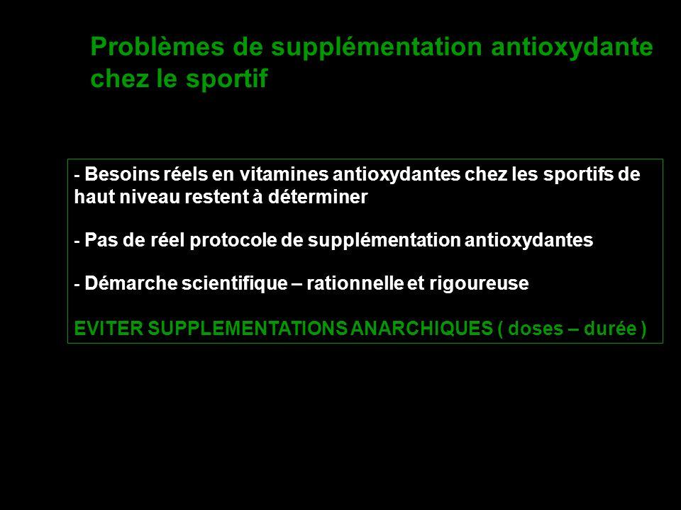 Problèmes de supplémentation antioxydante chez le sportif - Besoins réels en vitamines antioxydantes chez les sportifs de haut niveau restent à déterm