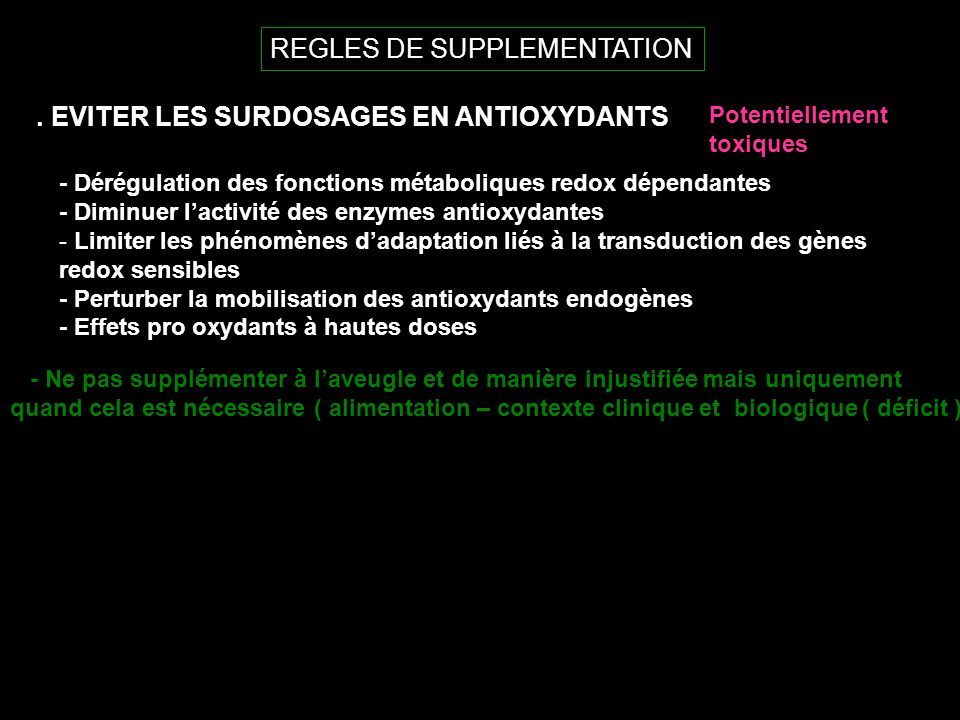 REGLES DE SUPPLEMENTATION.