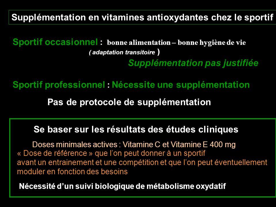 Supplémentation en vitamines antioxydantes chez le sportif Sportif occasionnel : bonne alimentation – bonne hygiène de vie ( adaptation transitoire )