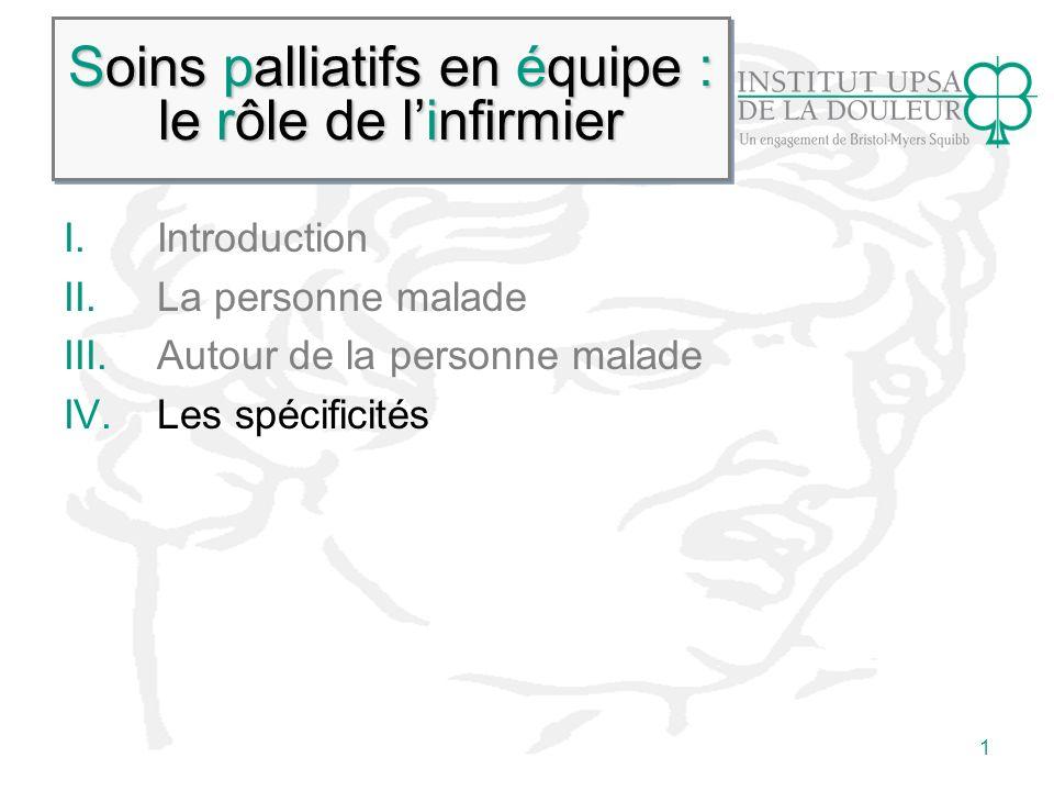 1 Soins palliatifs en équipe : le rôle de linfirmier I.Introduction II.La personne malade III.Autour de la personne malade IV.Les spécificités