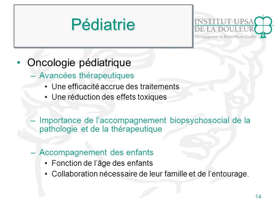 14 PédiatriePédiatrie Oncologie pédiatrique –Avancées thérapeutiques Une efficacité accrue des traitements Une réduction des effets toxiques –Importan