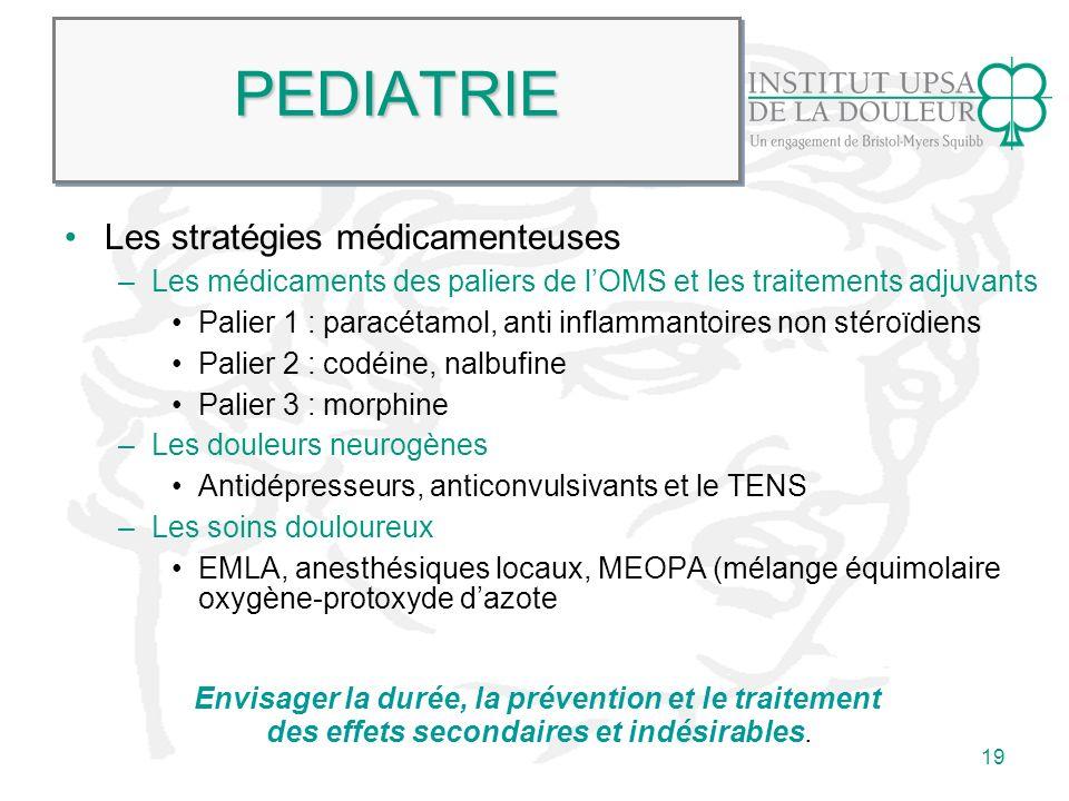 19 PEDIATRIEPEDIATRIE Les stratégies médicamenteuses –Les médicaments des paliers de lOMS et les traitements adjuvants Palier 1 : paracétamol, anti in
