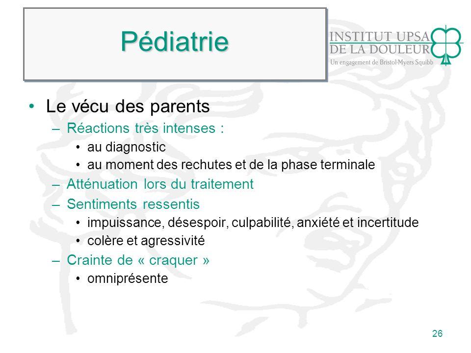 26 PédiatriePédiatrie Le vécu des parents –Réactions très intenses : au diagnostic au moment des rechutes et de la phase terminale –Atténuation lors d