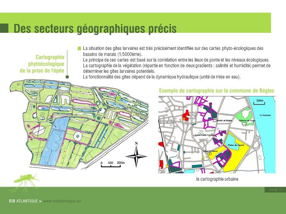 PAGE 11 La situation des gîtes larvaires est très précisément identifiée sur des cartes phyto-écologiques des bassins de marais (1/5000ème). Le princi