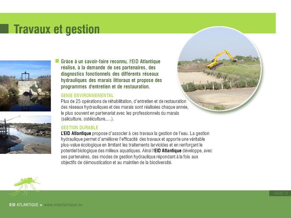 PAGE 15 Grâce à un savoir-faire reconnu, l'EID Atlantique réalise, à la demande de ses partenaires, des diagnostics fonctionnels des différents réseau