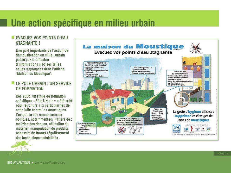 PAGE 17 EVACUEZ VOS POINTS DEAU STAGNANTE ! Une part importante de laction de démoustication en milieu urbain passe par la diffusion dinformations pré