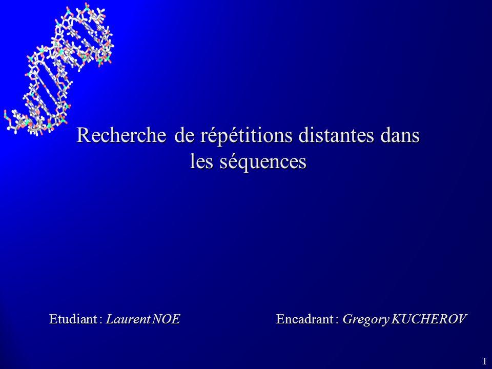 1 Recherche de répétitions distantes dans les séquences Etudiant : Laurent NOE Encadrant : Gregory KUCHEROV