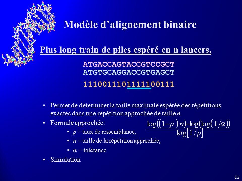 12 Modèle dalignement binaire Plus long train de piles espéré en n lancers.
