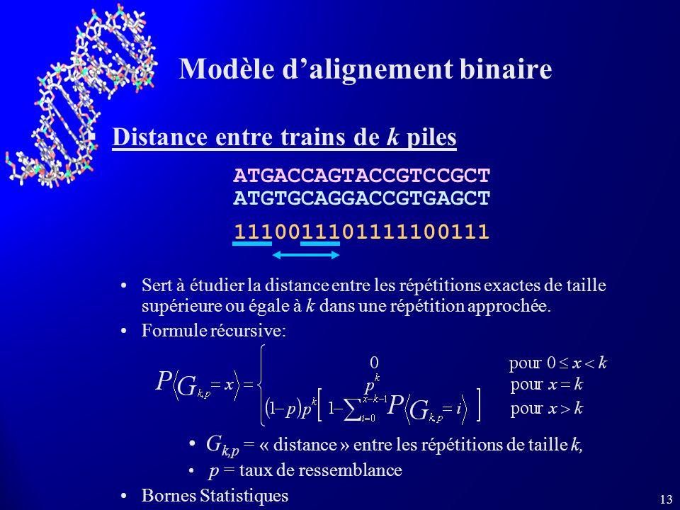 13 Modèle dalignement binaire Distance entre trains de k piles Sert à étudier la distance entre les répétitions exactes de taille supérieure ou égale à k dans une répétition approchée.