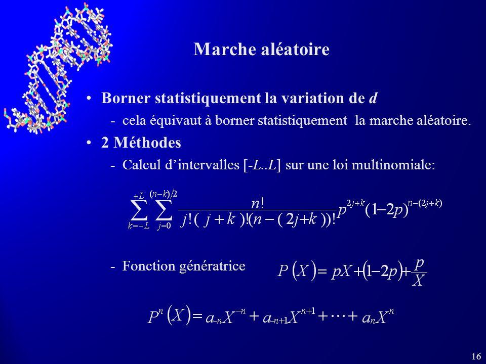 16 Marche aléatoire Borner statistiquement la variation de d cela équivaut à borner statistiquement la marche aléatoire.