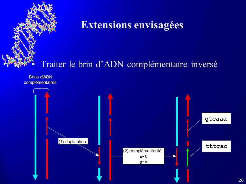 26 Extensions envisagées Traiter le brin dADN complémentaire inversé tttgac gtcaaa (1) duplication (2) complémentarité a-t g-c Brins d ADN complémentaires