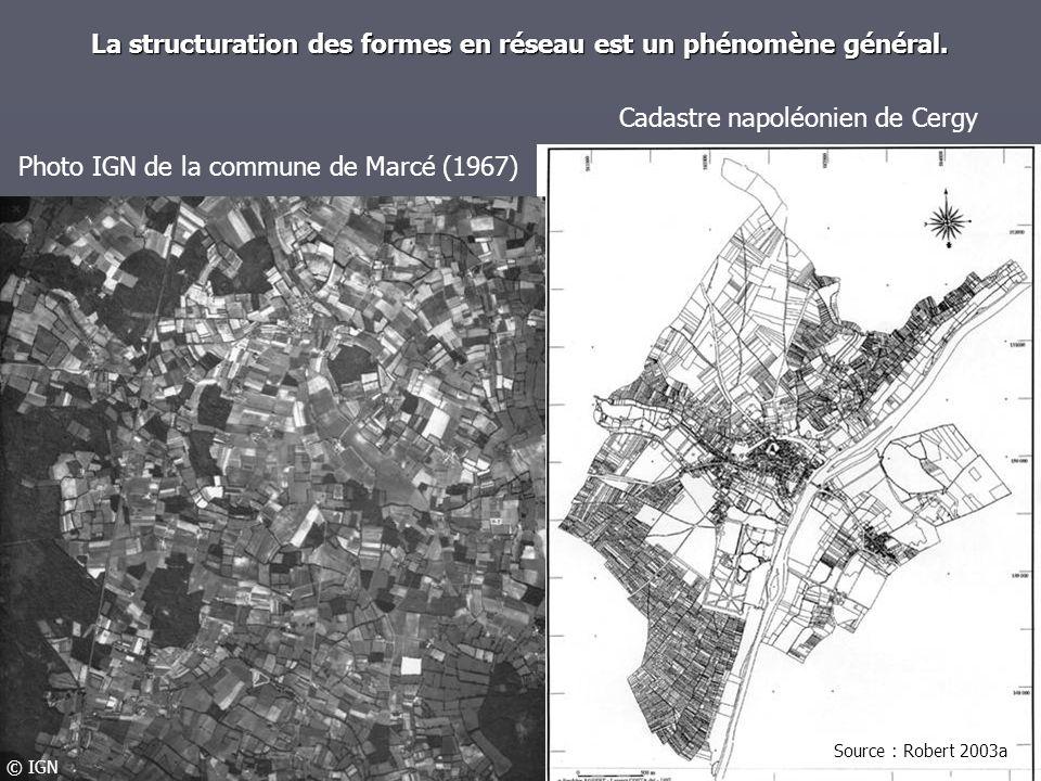 La structuration des formes en réseau est un phénomène général. Photo IGN de la commune de Marcé (1967) Cadastre napoléonien de Cergy Source : Robert