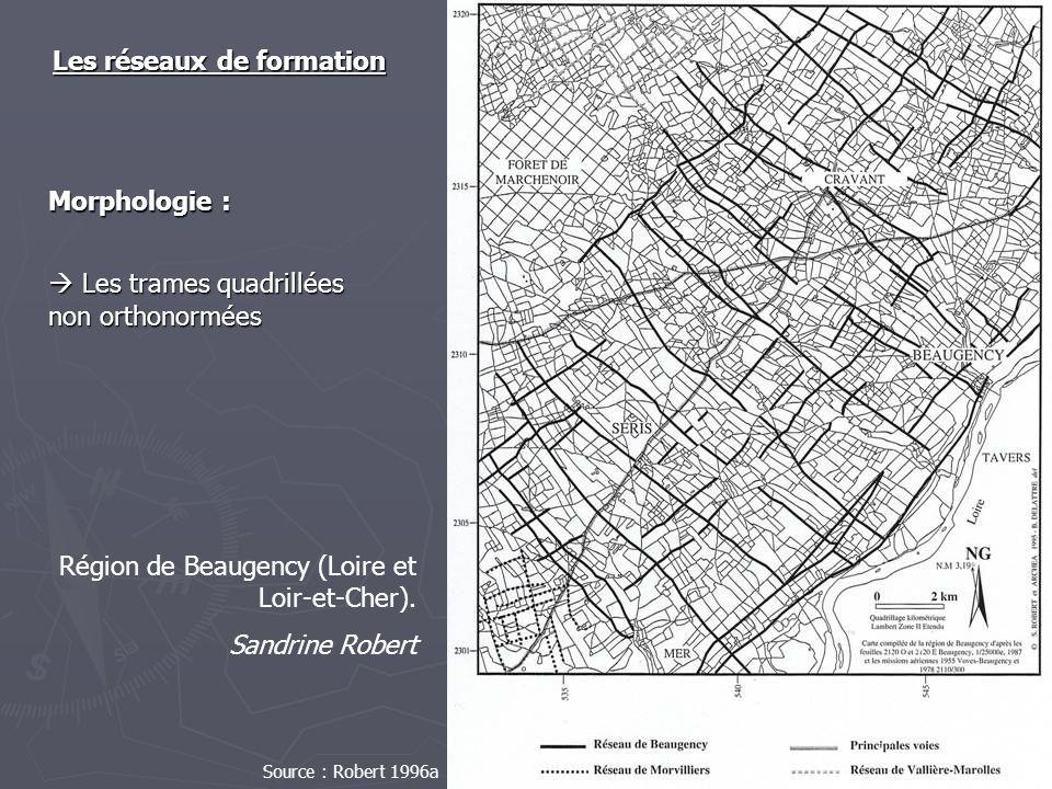 Les réseaux de formation Les trames quadrillées non orthonormées Les trames quadrillées non orthonormées Région de Beaugency (Loire et Loir-et-Cher).