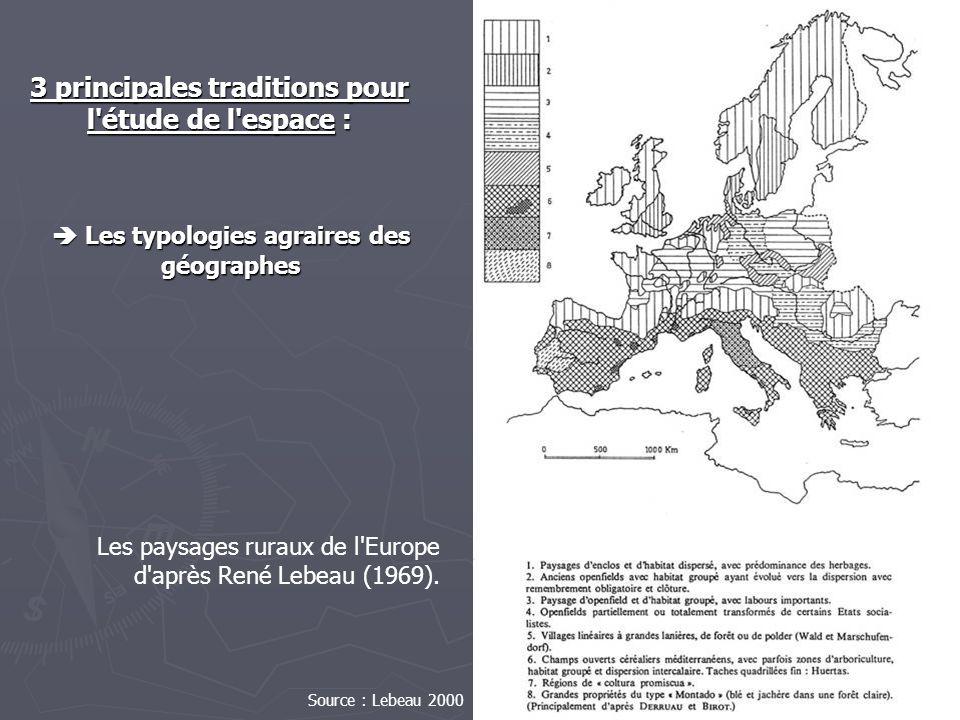 Les typologies agraires des géographes Les typologies agraires des géographes Les paysages ruraux de l'Europe d'après René Lebeau (1969). 3 principale
