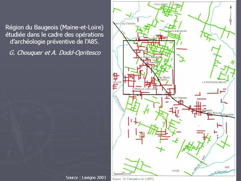 Région du Baugeois (Maine-et-Loire) étudiée dans le cadre des opérations darchéologie préventive de l'A85. G. Chouquer et A. Dodd-Opritesco Source : L