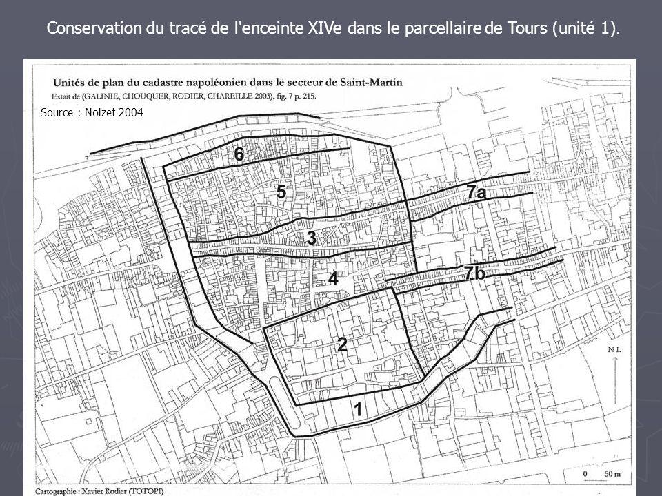 Conservation du tracé de l'enceinte XIVe dans le parcellaire de Tours (unité 1). Source : Noizet 2004