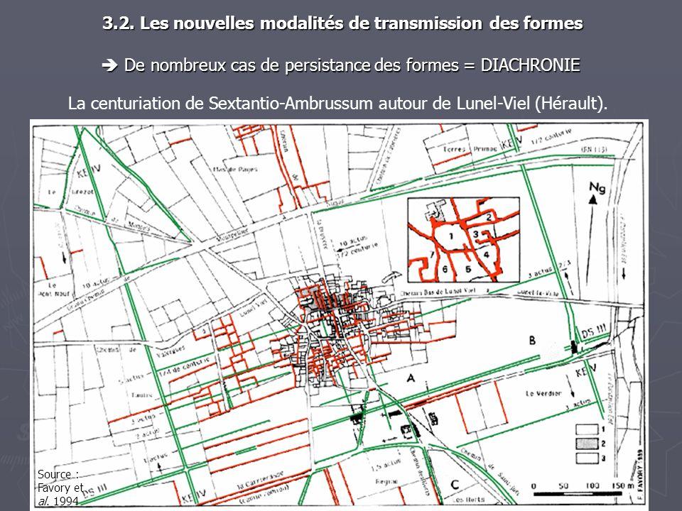 La centuriation de Sextantio-Ambrussum autour de Lunel-Viel (Hérault). De nombreux cas de persistance des formes = DIACHRONIE De nombreux cas de persi