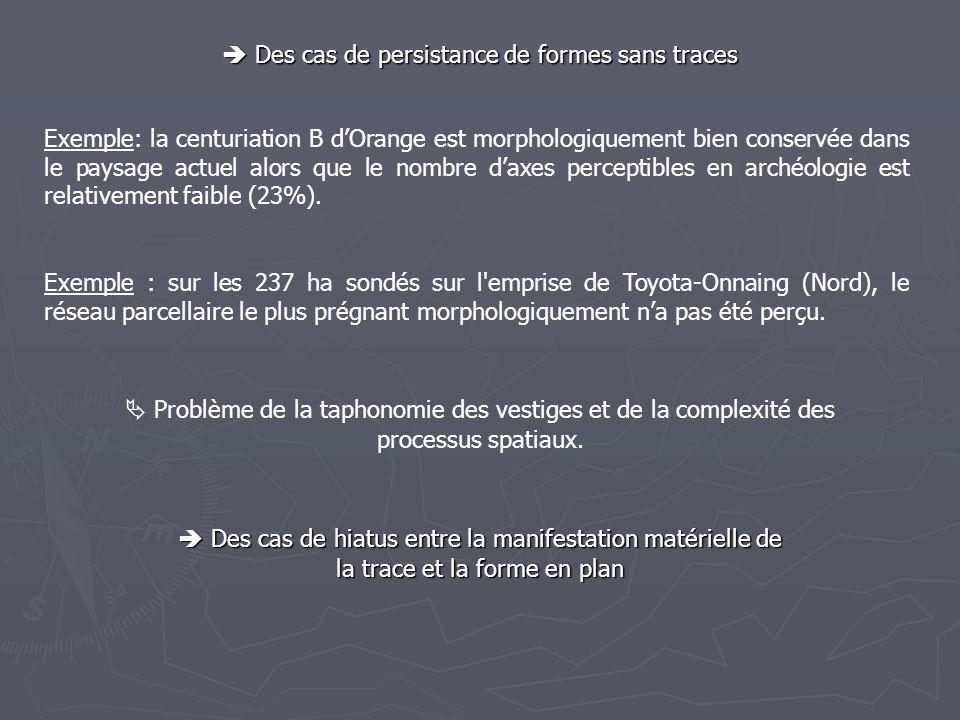 Des cas de persistance de formes sans traces Des cas de persistance de formes sans traces Exemple: la centuriation B dOrange est morphologiquement bie