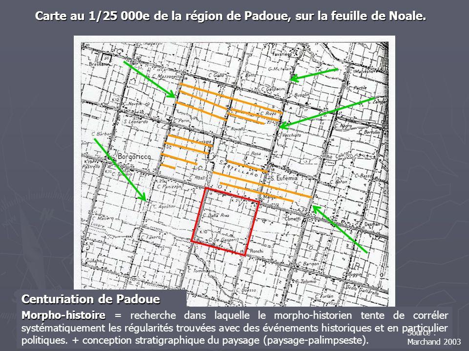 Carte au 1/25 000e de la région de Padoue, sur la feuille de Noale. Morpho-histoire Morpho-histoire = recherche dans laquelle le morpho-historien tent