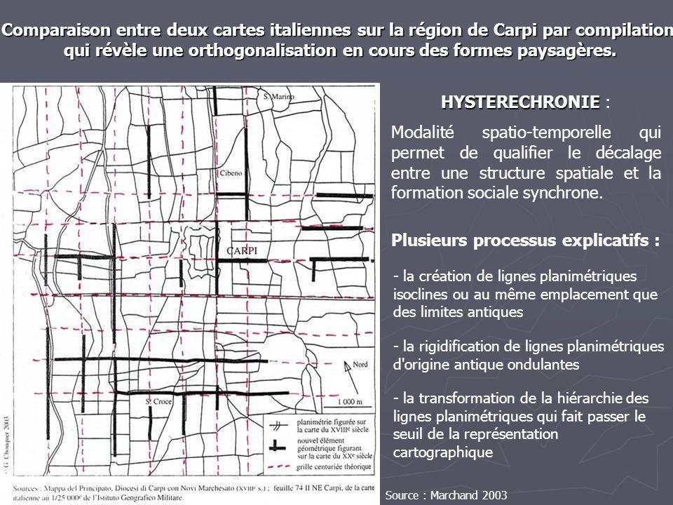 Comparaison entre deux cartes italiennes sur la région de Carpi par compilation qui révèle une orthogonalisation en cours des formes paysagères. qui r