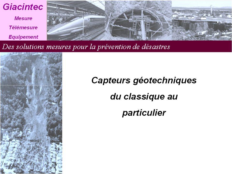 Les mesures géotechniques font appel à des capteurs divers et variés suivant les types dapplications.