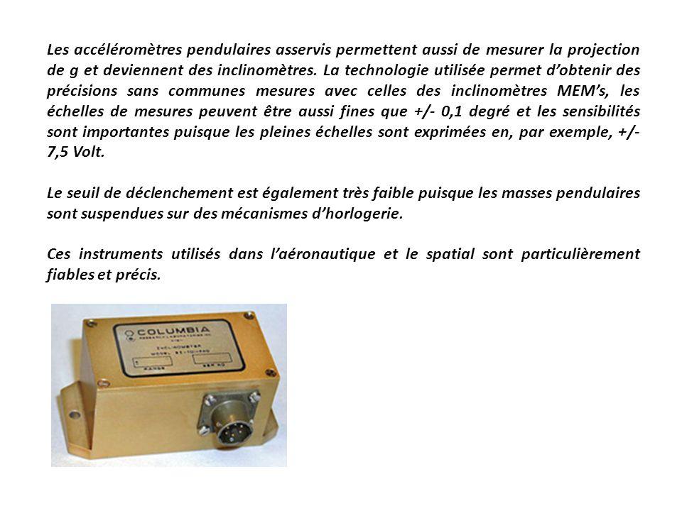 Les accéléromètres pendulaires asservis permettent aussi de mesurer la projection de g et deviennent des inclinomètres. La technologie utilisée permet