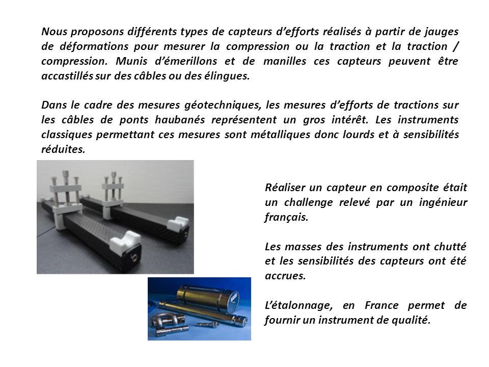 Nous proposons différents types de capteurs defforts réalisés à partir de jauges de déformations pour mesurer la compression ou la traction et la trac