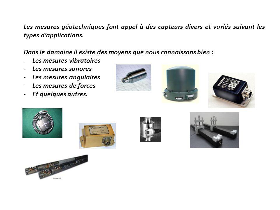 Les mesures géotechniques font appel à des capteurs divers et variés suivant les types dapplications. Dans le domaine il existe des moyens que nous co