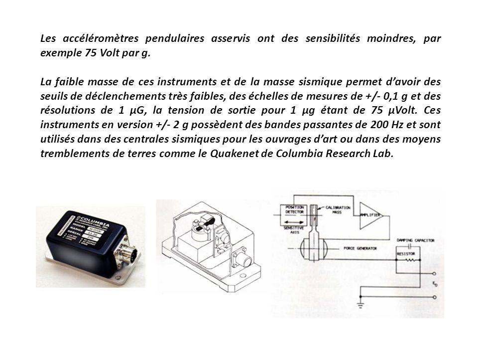 Les accéléromètres pendulaires asservis ont des sensibilités moindres, par exemple 75 Volt par g. La faible masse de ces instruments et de la masse si