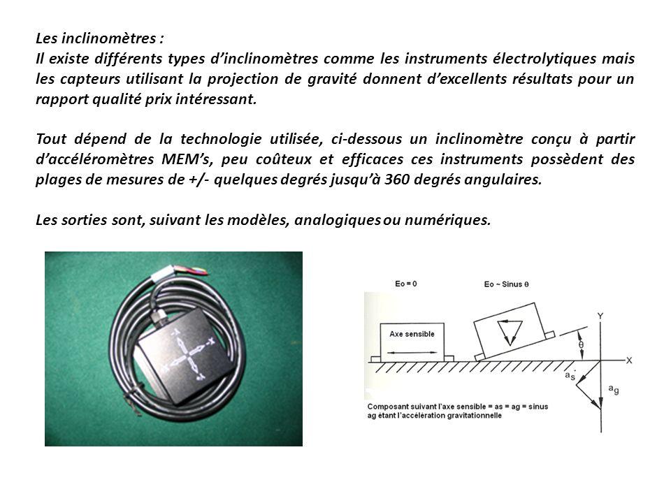 Les inclinomètres : Il existe différents types dinclinomètres comme les instruments électrolytiques mais les capteurs utilisant la projection de gravi