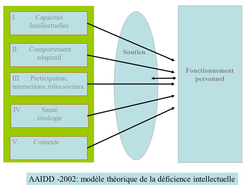 Fonctionnement personnel V. Contexte IV. Santé, étiologie III. Participation, interactions, rôles sociaux II. Comportement adaptatif I. Capacités Inte