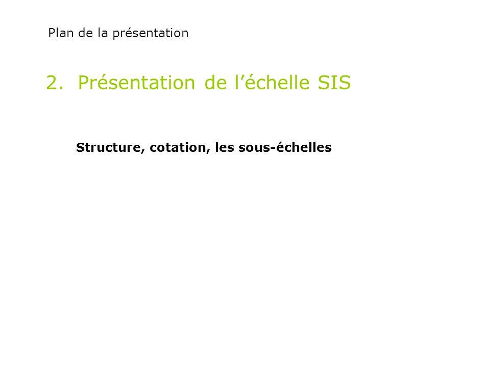 2. Présentation de léchelle SIS Structure, cotation, les sous-échelles Plan de la présentation