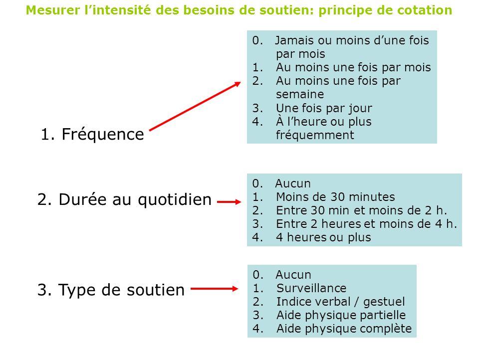 Mesurer lintensité des besoins de soutien: principe de cotation 1. Fréquence 0. Jamais ou moins dune fois par mois 1.Au moins une fois par mois 2.Au m