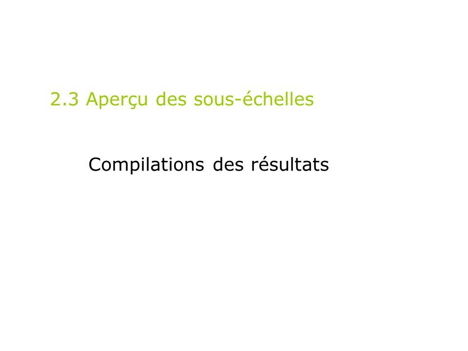 2.3 Aperçu des sous-échelles Compilations des résultats