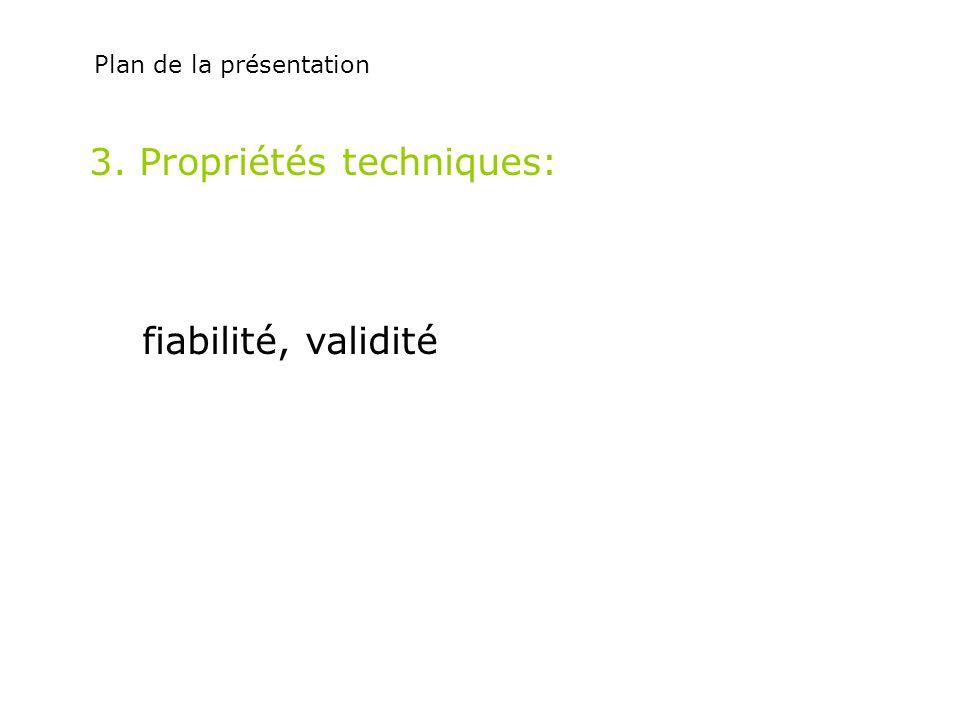3. Propriétés techniques: fiabilité, validité Plan de la présentation